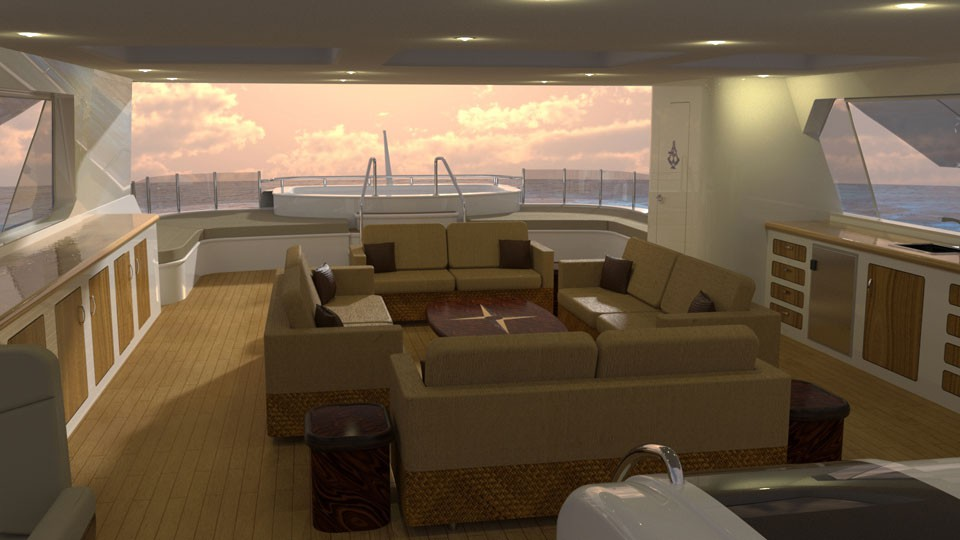 Top Deck on a 50 Meter Luxury Explorer Yacht by CHY Designs