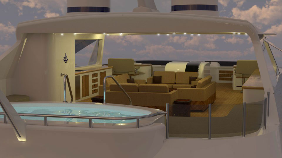 Top Deck of a Luxury Explorer Yacht by Trinity Yachts, 50 Meters